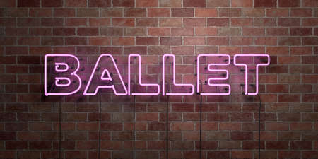 BALLET - fluorescent Neon tube Sign on brickwork - Front view - 3D rendered royalty free stock picture. Can be used for online banner ads and direct mailers. Foto de archivo
