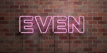 EVEN - fluorescent Neon tube Sign on brickwork - Front view - 3D rendered royalty free stock picture. Can be used for online banner ads and direct mailers.