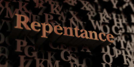 arrepentimiento: Repentance - Wooden 3D rendered lettersmessage.  Can be used for an online banner ad or a print postcard.