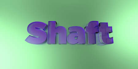 shaft: Shaft - colorful glass text on vibrant background - 3D rendered royalty free stock image.