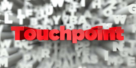Touchpoint -  Red text on typography background - 3D rendered royalty free stock image. This image can be used for an online website banner ad or a print postcard. Stock Photo