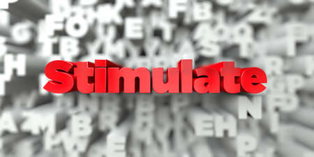 Stimulate -  Red text on typography background - 3D rendered royalty free stock image. This image can be used for an online website banner ad or a print postcard.