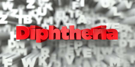 diphtheria: Diphtheria -  Red text on typography background - 3D rendered royalty free stock image. This image can be used for an online website banner ad or a print postcard.