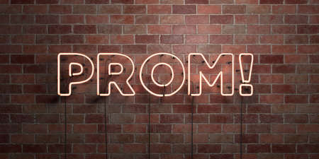 prom night: PROM! - fluorescent Neon tube Sign on brickwork - Front view - 3D rendered royalty free stock picture. Can be used for online banner ads and direct mailers.