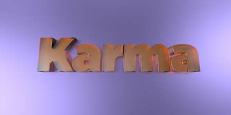 Karma - colorful glass text on vibrant background - 3D rendered royalty free stock image.