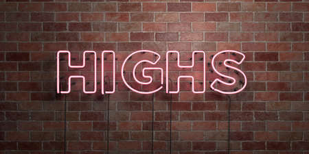 highs: HIGHS - fluorescent Neon tube Sign on brickwork - Front view - 3D rendered royalty free stock picture. Can be used for online banner ads and direct mailers. Stock Photo