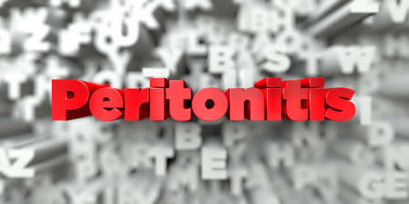 peritonitis: Peritonitis -  Red text on typography background - 3D rendered royalty free stock image. This image can be used for an online website banner ad or a print postcard. Stock Photo