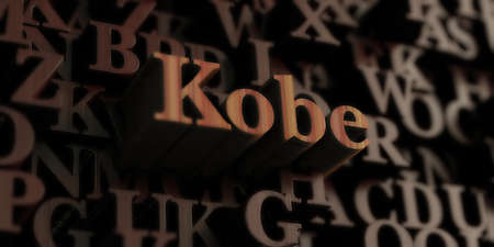 kobe: Kobe - Wooden 3D rendered lettersmessage.  Can be used for an online banner ad or a print postcard.