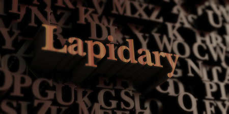 lapidary: Lapidary - Wooden 3D rendered lettersmessage.  Can be used for an online banner ad or a print postcard.