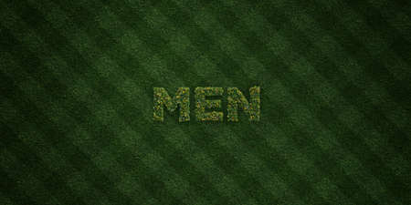 MEN - fresh Grass letters with flowers and dandelions - 3D rendered royalty free stock image. Can be used for online banner ads and direct mailers.