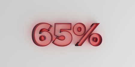 65% - Red glass text on white background - 3D rendered royalty free stock image.