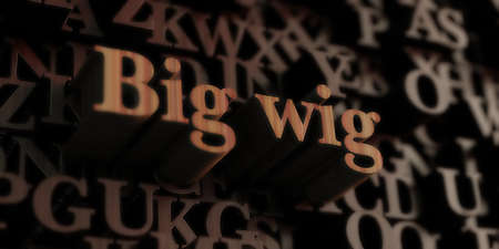 wig: Big wig - Wooden 3D rendered lettersmessage.  Can be used for an online banner ad or a print postcard.