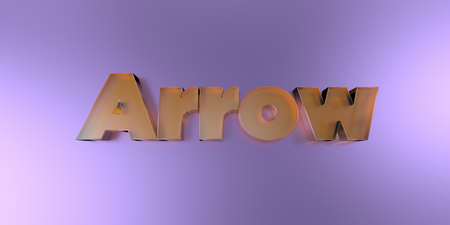 Arrow - colorful glass text on vibrant background - 3D rendered royalty free stock image. Stock Photo