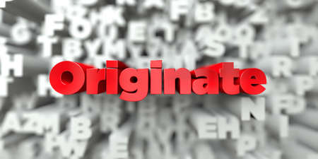 Originate -  Red text on typography background - 3D rendered royalty free stock image. This image can be used for an online website banner ad or a print postcard. Stock Photo