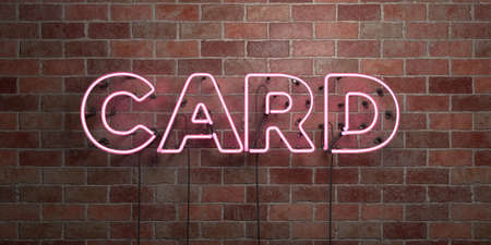 CARD - fluorescent Neon tube Sign on brickwork - Front view - 3D rendered royalty free stock picture. Can be used for online banner ads and direct mailers. Foto de archivo