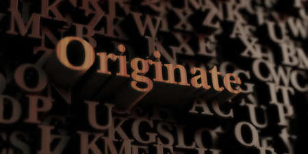 Originate - Wooden 3D rendered lettersmessage.  Can be used for an online banner ad or a print postcard.
