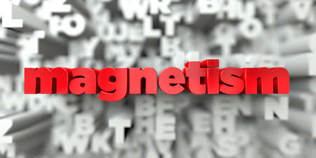 magnetism: magnetism -  Red text on typography background - 3D rendered royalty free stock image. This image can be used for an online website banner ad or a print postcard.