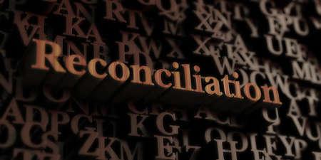 Réconciliation - Lettres / message en 3D rendus en bois. Peut être utilisé pour une bannière publicitaire en ligne ou une carte postale imprimée.