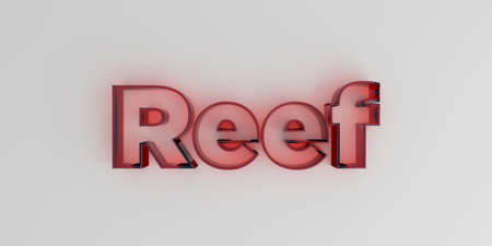 royalty free: Reef - Red glass text on white background - 3D rendered royalty free stock image. Stock Photo