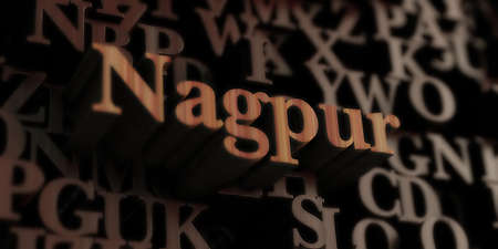 nagpur: Nagpur - Wooden 3D rendered lettersmessage.  Can be used for an online banner ad or a print postcard.