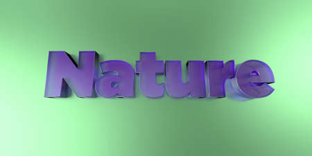 royalty free: Nature - colorful glass text on vibrant background - 3D rendered royalty free stock image.