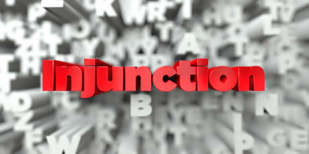 injunction: Injunction -  Red text on typography background - 3D rendered royalty free stock image. This image can be used for an online website banner ad or a print postcard.