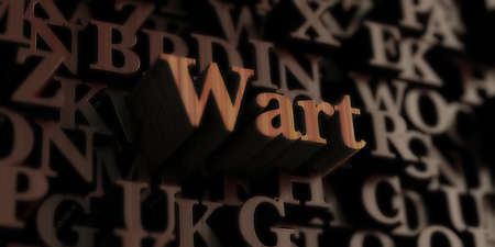 wart: wart - Wooden 3D rendered lettersmessage.  Can be used for an online banner ad or a print postcard.