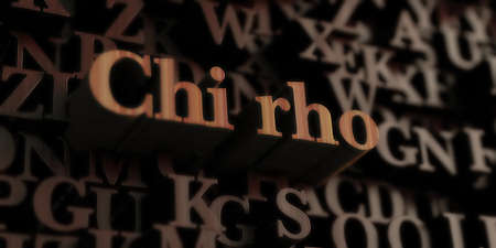 chi: Chi Rho - Wooden 3D rendered lettersmessage.  Can be used for an online banner ad or a print postcard.