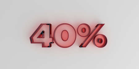 40: 40% - Red glass text on white background - 3D rendered royalty free stock image.