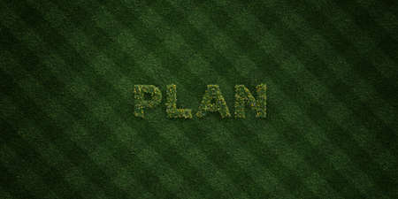 PLAN - frische Grasbuchstaben mit Blumen und Löwenzahn - 3D übertrug freies Archivbild der Abgabe. Kann für Online-Werbebanner und Direktmailer verwendet werden. Standard-Bild - 72420236