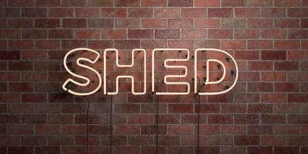 SHED - tubo de néon fluorescente Assine em alvenaria - Vista frontal - 3D rendeu a imagem livre de direitos. Pode ser usado para anúncios em banners online e mala direta. Foto de archivo - 72420243