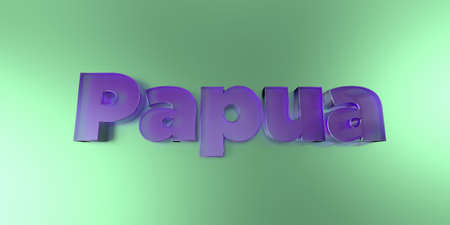 Papua - colorful glass text on vibrant background - 3D rendered royalty free stock image.