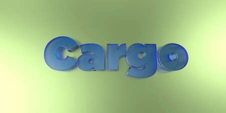 royalty free: Cargo - colorful glass text on vibrant background - 3D rendered royalty free stock image.