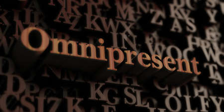 omnipresent: Omnipresent - Wooden 3D rendered lettersmessage.  Can be used for an online banner ad or a print postcard. Stock Photo