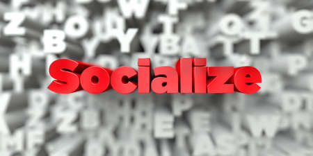 Socialize -  Red text on typography background - 3D rendered royalty free stock image. This image can be used for an online website banner ad or a print postcard.