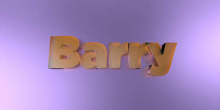 Barry - colorful glass text on vibrant background - 3D rendered royalty free stock image.