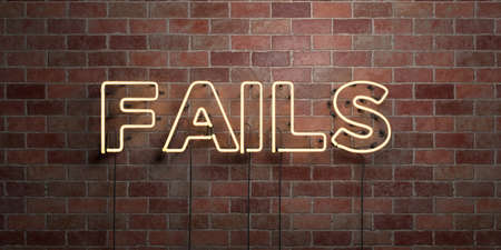 FAILS - fluorescent Neon tube Sign on brickwork - Front view - 3D rendered royalty free stock picture. Can be used for online banner ads and direct mailers. Stock Photo