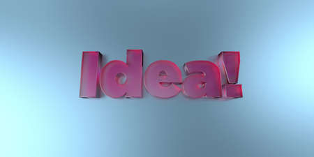 Idea! - colorful glass text on vibrant background - 3D rendered royalty free stock image. Stock Photo