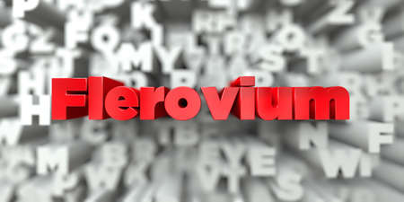 graphic flerovium: Flerovium -  Red text on typography background - 3D rendered royalty free stock image. This image can be used for an online website banner ad or a print postcard.