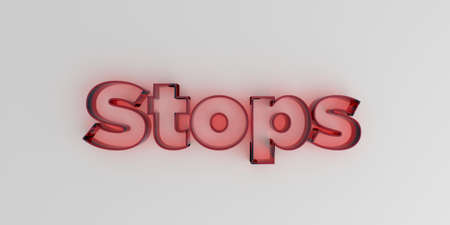 royalty free: Stops - Red glass text on white background - 3D rendered royalty free stock image. Stock Photo