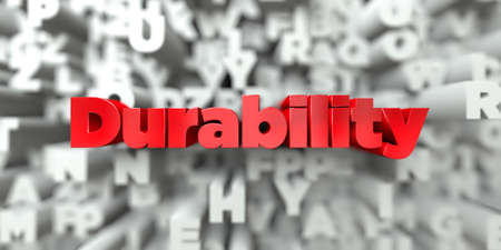 Durability -  Red text on typography background - 3D rendered royalty free stock image. This image can be used for an online website banner ad or a print postcard.