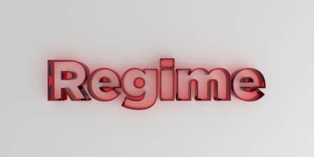 regime: Regime - Red glass text on white background - 3D rendered royalty free stock image. Stock Photo
