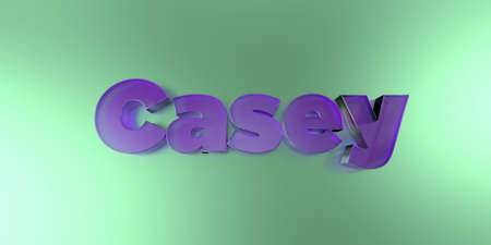 Casey - colorful glass text on vibrant background - 3D rendered royalty free stock image.