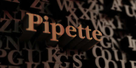 pipet - Houten 3D-gerenderde letters  bericht. Kan worden gebruikt voor een online banneradvertentie of een prentbriefkaart.