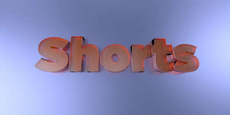 royalty free: Shorts - colorful glass text on vibrant background - 3D rendered royalty free stock image.