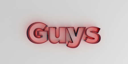 Guys - Red glass text on white background - 3D rendered royalty free stock image.