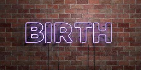 レンガ - 前面ビュー - 3 D レンダリングされたロイヤリティ フリー ストック画像の蛍光ネオン管サインの誕生。オンライン バナー広告やダイレクト