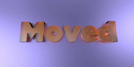 Moved - colorful glass text on vibrant background - 3D rendered royalty free stock image.