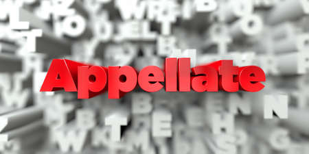 Appellate -  Red text on typography background - 3D rendered royalty free stock image. This image can be used for an online website banner ad or a print postcard.