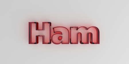 ハム - 白い背景に赤いガラス テキスト - 3 D レンダリングされたロイヤリティ フリー ストック イメージ。 写真素材